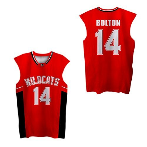 borizcustoms Zac E Troy Bolton 14 East High School Wildcats Red Patch Basketball Jersey (46) -