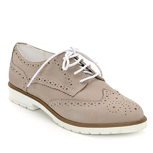 Marina Seval Scarpe&Scarpe - Schnürschuhe mit Lochmuster, Flache Schuhe, Leder - 39,0, Beige