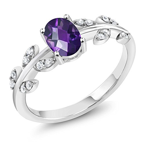 0.96 Ct Oval Checkerboard Purple Amethyst 925 Sterling Silver Olive Vine Ring (Ring Size (Sterling Vine)