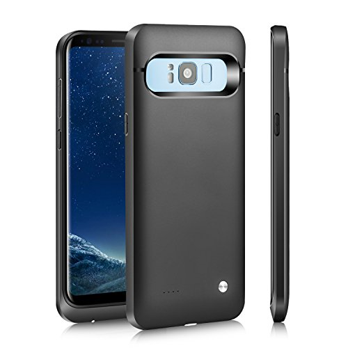 Galaxy S8 Plus Battery Case,FIDEA 5000mAh Rechargeable Slim External Battery Case,With Rechargeable External Battery,Portable Charger Power Bank Cover for Samsung Galaxy S8+ (Gray)