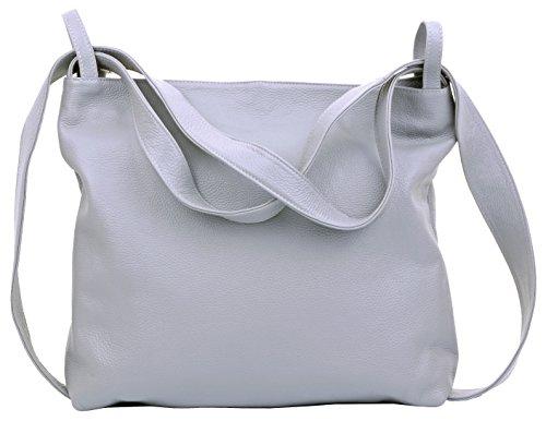 Primo Sacchi ® Mesdames italiennes en cuir texturé Grab sac à bandoulière sacs à dos Pack Rucksac. Sac de rangement de protection de marque incudes Gris Clair