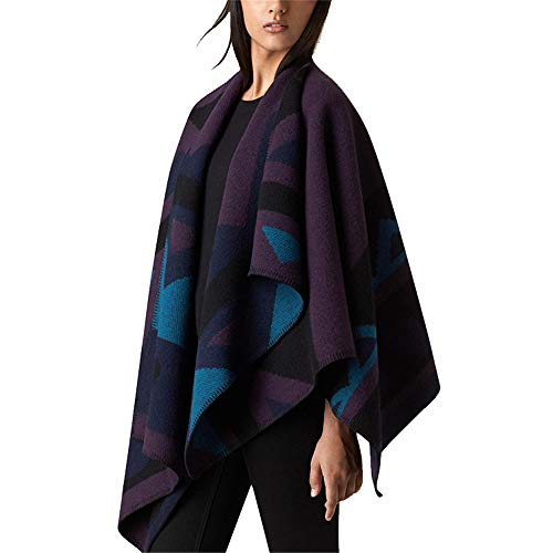 unique multicolor manches avec longues violet femme Boho couleur poncho et Taille Zoodq Veste violet manches longues hiver à q16678