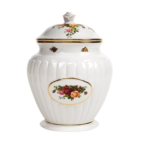 Royal Albert Old Country Roses 11-inch Fluted Cookie Jar Old Country Roses Gold Fluted