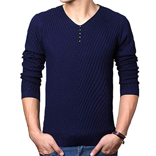 Plus Pull De Pullover Navy Sleeve D'automne Taille overs Pull Homme over Slim V AqOAE