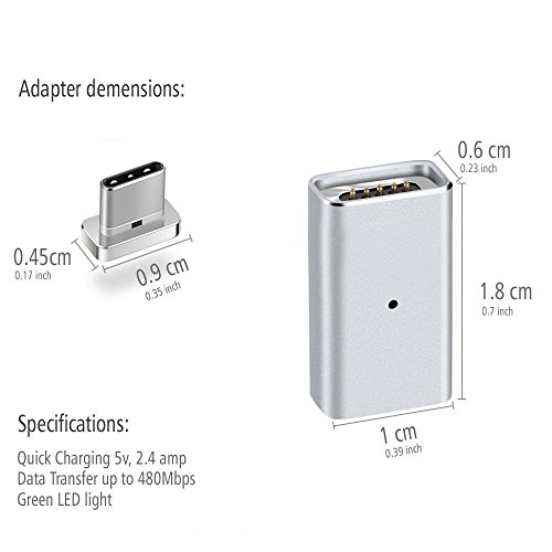 Ankey Magnetic USB C Adapter, Magnetic Fast Charging Support 4.3A USB Type C to USB C Charger Connection Converter for Google Chromebook Pixel/Samsung Galaxy S8/HTC and Other USB-C Devices by Ankey (Image #3)