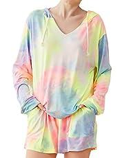Tie Dye Pajamas for Women Long Sleeve Lounge Sets Sweatsuit Ladies Pajamas