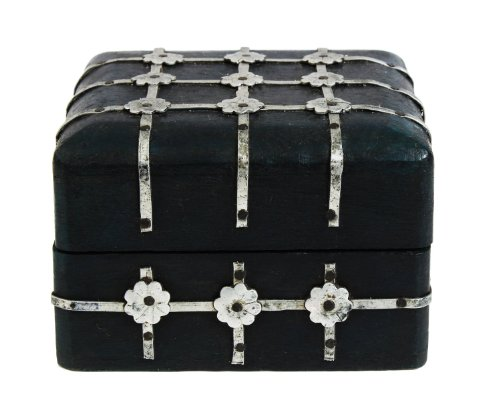 Antique Vintage Style Wooden Square Trinket Keepsake Box (4 x 4 inches) with Hand Embossed Aluminum Floral Design