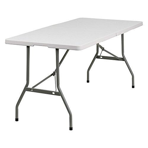 30''W x 60''L Bi-Fold Granite White Plastic Folding Table (Plastic Rectangular Folding Table)