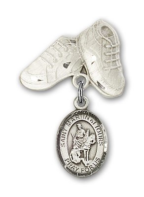 Sterling Silver Baby Badge with St. Martin of Tours Charm and Baby Boots Pin