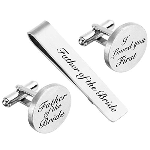 ZUNON Father of The Bride Cufflins & Tie Clip Father of The Bride Gifts I Loved You First Wedding Tie Clips Bar Tack (Cufflinks & tie -