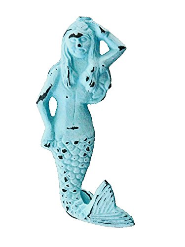 "Distress Blue Iron Mermaid Shaped Door Knocker 6.3""L (Door Knocker Mermaid)"
