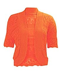 RIDDLED WITH STYLE New Ladies Plus Size Knitted Crochet Bolero Shrugs Womens Cardigan Tops 16-26