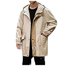 Men's  Hoodie Parka Jackets Skinny Trench Coat