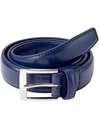 Mens Classic Stitched Genuine Leather Uniform Belt - Black Brown White