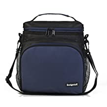 """Insulated Lunch Bag S1: Stylish Lunch Box Office Work Men Women Teens Boys Girls Adjustable Strap Handle Front and 2 Side Pockets SIze H: 10"""" x W: 5.1"""" x L: 9.2"""" (Large, Navy Blue)"""