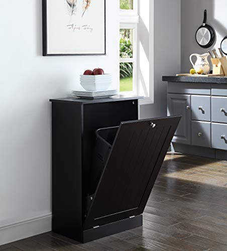 Seven Oaks Tilt Out Free Standing Kitchen Trash or Recycling Cabinet (Black)