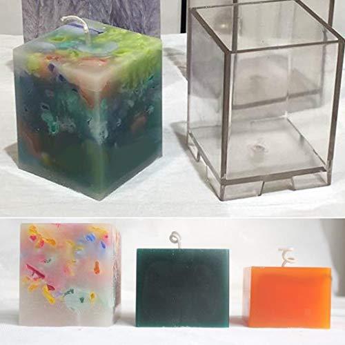 FidgetFidget Candle Making Mold Soap Making Mould Tools 51mm Plastic Square Cube Shape ()