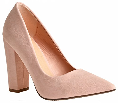 Lust Have Women's Pauline Pointed Pointy Toe Chunky Wrapped High Heel Dress Pumps Pink Nubuck 8.5 - Pointy High Heel Pump