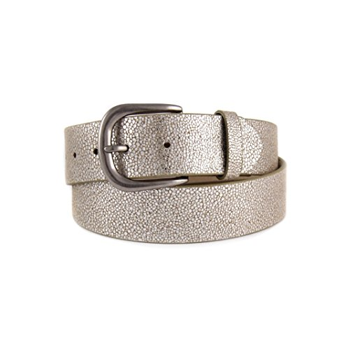 Sting Ray Printed Leather Belt with Silver Buckle - Stingray Printed Leather