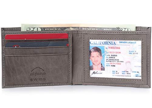 Outside Tri Fold Wallet - Alpine Swiss Mens Top Grain Leather Slimfold Wallet Gray