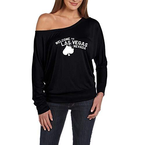 Las Vegas Gift Welcome to Las Vegas Nevada Women's Flowy Long Sleeve Off Shoulder Tee (XSB) Black]()
