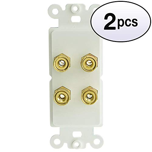 GOWOS (2 Pack) Decora Wall Plate Insert, White, 4 Banana Plug Binding Posts for 2 Speakers
