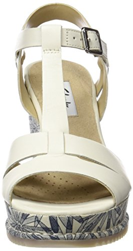 Clarks Women's Adesha River Wedge Heels Sandals, Brown, 3.5 UK White (White Leather)