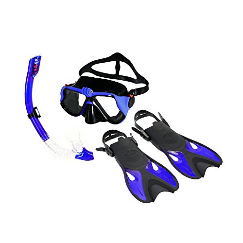 ZHX Snorkeling Combo Set Anti-Fog Goggles Mask Snorkel Tube Fins Gear Bag Men Women Swimming Scuba Diving Travel Blue L