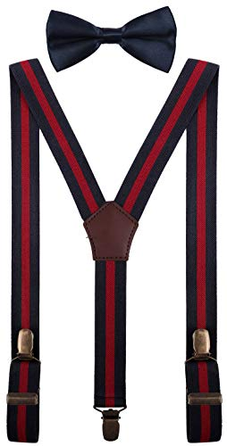 - YJDS Toddler Bow Ties Suspender Set Adjustable Strong Clip Navy Wine Stripe 30''