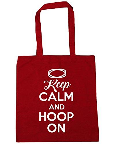 HippoWarehouse Keep calm and reifen auf Einkaufstasche Fitnessstudio Strandtasche 42cm x38cm, 10 liter - Baumwolle, Klassisch Rot, 100% baumwolle 100% baumwolle, Damen, One size