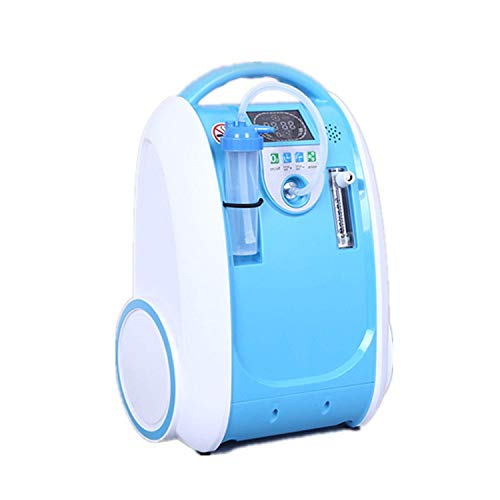 Continuous Flow Air - Oxygen Concentrator, 1-5L/min Adjustable Portable Oxygen Machine for Home Use, AC 110V Humidifiers Blue AM-1