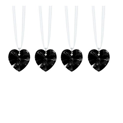 Swarovski Strass Prisms 4 Pcs Crystal Jet Black Heart Prism Ornaments Package Deal -