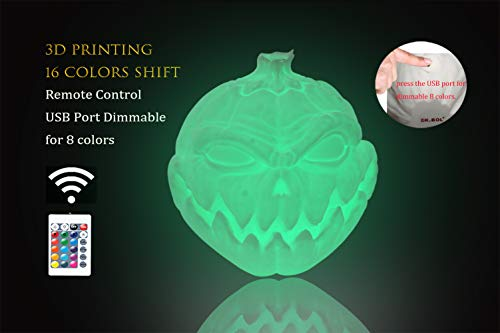 3D Printed Jack o'Lantern Lamps,Halloween Pumpkin Light Lamp,Remote Control Solar Panel Powered USB Port 16 Colors Shift Pumpkin Lights Devil Face Pumpkin 3D Lamps for Halloween Decoration Gift]()