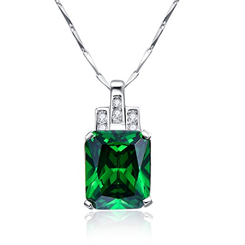 BONLAVIE Women's 6.95ct Created Green Emerald Pendant Necklace 925 Sterling Silver, 18