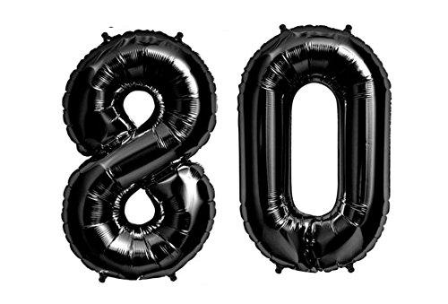 C-Spin 40 INCH Big Large 80 Black Number Foil Balloon 40