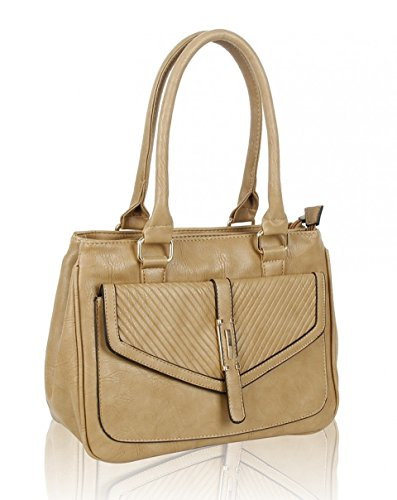 Shoulder POCKET LeahWard Tote BAG Bag Handbags Style Bags FRONT Leather Faux Fashion ALMOND CW150906 For Ladies Women's RxZRqB1Yw4