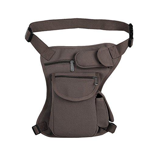 Bolso de Cintura Bolso de Pierna de Tela de Lona para Hombre para el Deporte al Aire Libre Coffee