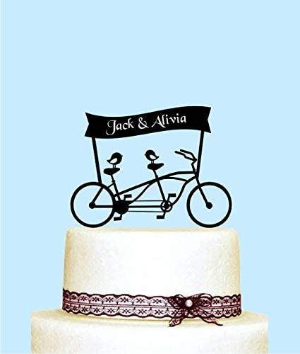 Decoración para tarta de boda, diseño de pájaros, personalizable: Amazon.es: Hogar