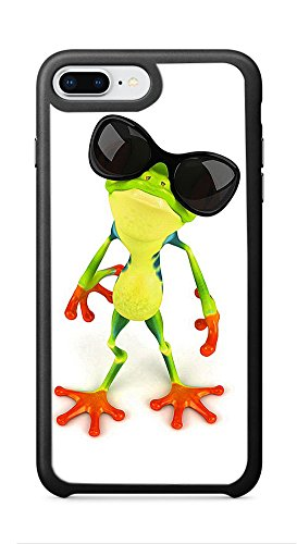 VUTTOO Case for Apple iPhone 8 Plus 5.5inch (Not Fit 4.7inch) - Funny Frog With Sunglasses Case - Shock Absorption Protection Phone Cover - Colored Sides Sunglasses With