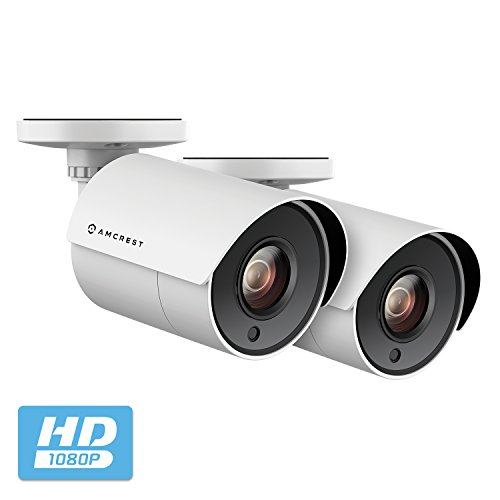 2-Pack Amcrest Full HD 1080P Bullet Outdoor Security Camera (Quadbrid 4-in1 HD-CVI/TVI/AHD/Analog), 2MP 1920×1080, Plastic Housing, 2.8mm Lens 103° Viewing Angle, White (2PACK-AMC2MBC28P-W)