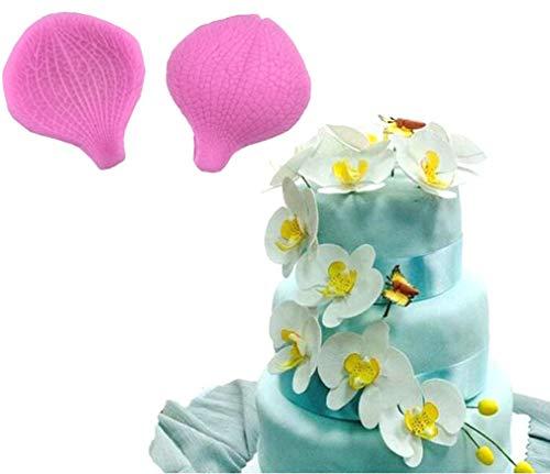 Kisweet 2 PCS Rose Petal Silicone Mold Fondant Mold Cake Border Cupcake Silicone Lace Mat Mold Decoration Tool