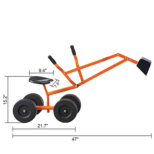 Albott Ride On Sand Digger Outdoor Kids Toys Working Crane with 8 inches Wheels Big Dig Sandbox