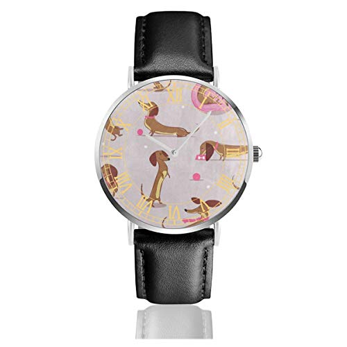 - Womens Watch Cute Cartoon Dachshund Polka Dot Bone Fabulous Business Stainless Steel Quartz Wrist Watches with Replaceable Leather Band