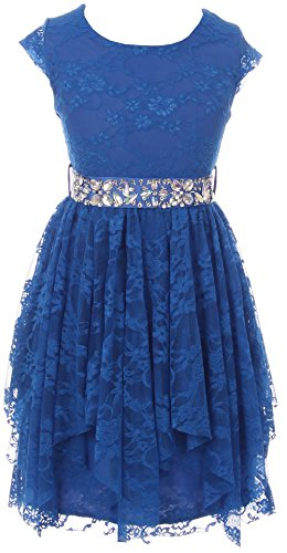 BNY Corner Big Girl Short Sleeve Floral Lace Ruffles Holiday Party Flower Girl Dress Royal 12 JKS 2095 Little Lady Flower Girl Dresses