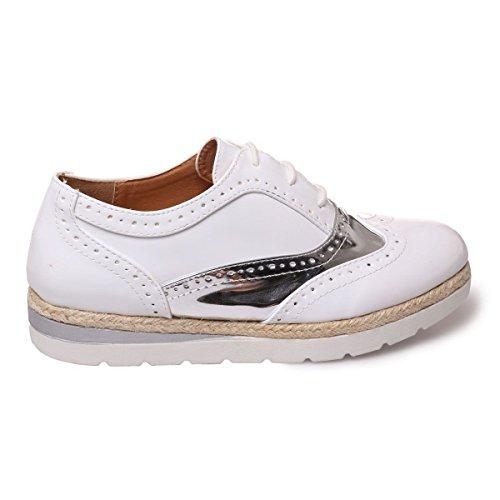 La Modeuse - Zapatos de cordones para mujer blanco