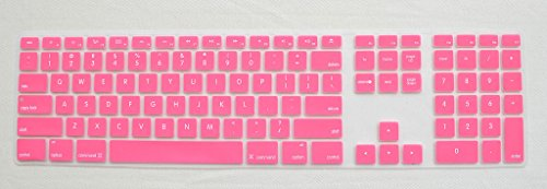 Pink Keyboard Protector Silicone Cover Skin for iMac Desktop g6 Wired USB Apple Full Size Keyboard with Numeric Keypad (MB110LL/B)