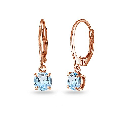 - LOVVE Rose Gold Flashed Sterling Silver Blue Topaz 6mm Round Dangle Leverback Earrings