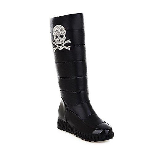 Solid 5 M B Material Soft Low US Glass PU Boots Toe AmoonyFashion PU Heels Closed Black Round Womens 5 with Diamond qn8wTUHv