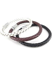 KONOV Mens Womens Leather Bracelet, 3pcs 6mm Braided Bangle, Magnetic Clasp, Black Brown White