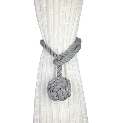 JQWUPUP 2 Pack Rustic Curtain Tiebacks - Outdoor Curtain Drapery Holdbacks Holders - Hand Knitting Cotton Rope Drape Tie Backs for Sheer and Blackout Curtain(Set of 2, Grey)